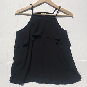 Lily White Black Ruffle Tank Top